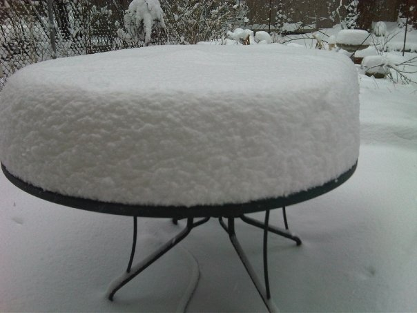 Picnic table snowstorm