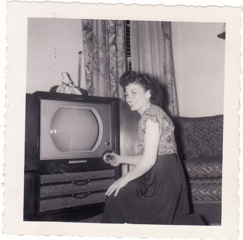 Mom at tv when young